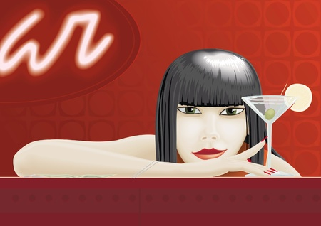 Woman sitting at the bar with cocktail glass Illustration