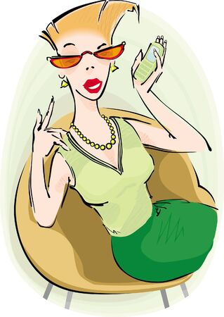 woman on cell phone: Sitting woman with cell phone