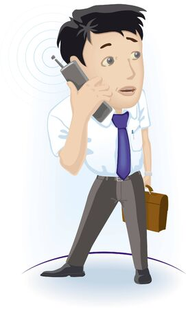 man on cell phone: Man with phone Standing man speaking by cell phone Illustration