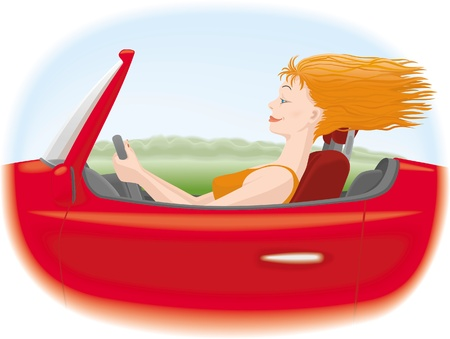 Woman  with red hair driving red car Illustration
