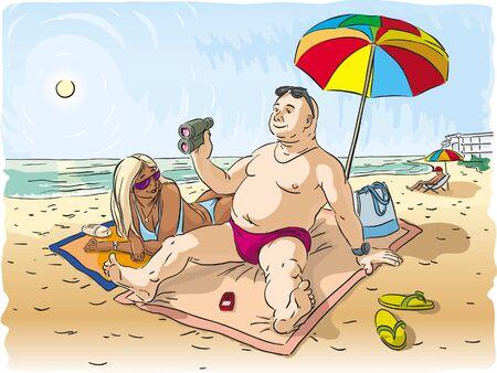 sun tan: El hombre y la mujer que descansa en la playa