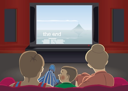 motion picture: Family watching TV set by home cinema Illustration