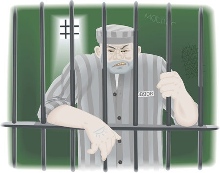jail cell: Prisoner in jail behind bars