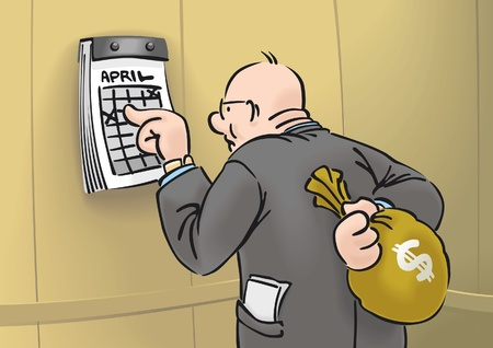 Capitalist with sack of money and calendar
