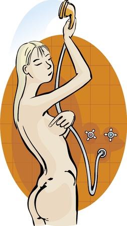 Girl take a shower