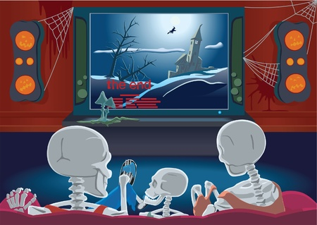 Family of skeletons are watching movie by home cinema sitting on the sofa Illustration