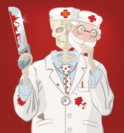 Skeleton dressed as doctor with saw and mask in hands