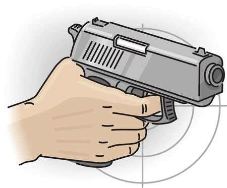 Hand holds the multicharge grey gun