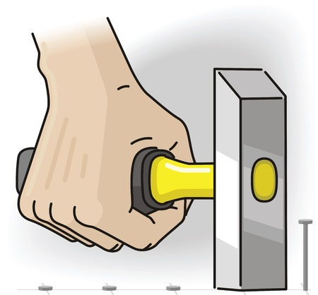 Hand holds the hammer with yellow handle and hammers nails in Illustration