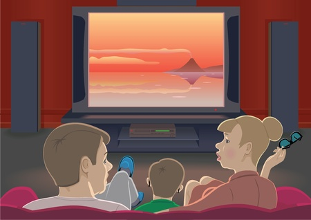 tv room: Family watching TV set by home cinema Illustration