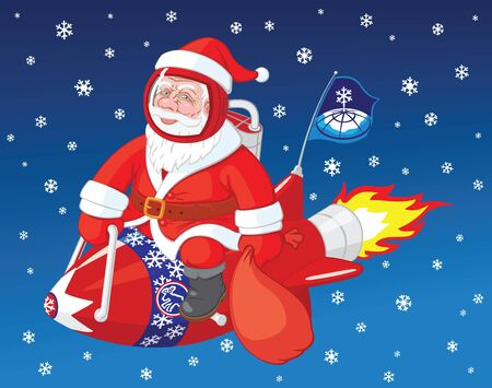 Christmas character Santa Claus flies on the rocket Stock Vector - 11597232