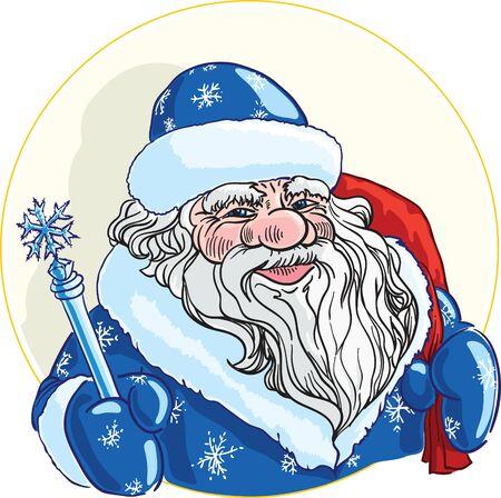 pere noel: Russes personnages de Noël Ded Moroz (Père Noël) avec un bâton et un sac Illustration