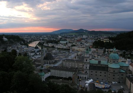 A view of Salzburg in the evening photo