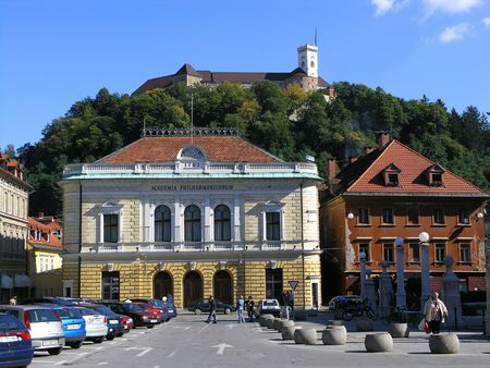 academia: View of the academia and the castle in Ljubljana