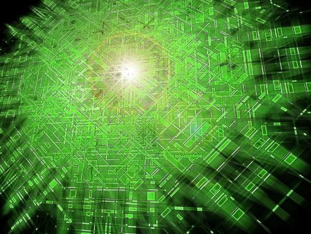 encode: Green grid exploding; abstract circuits