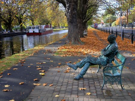 A statue of Patrick Kavanagh on the banks of the Grand Canal, Dublin