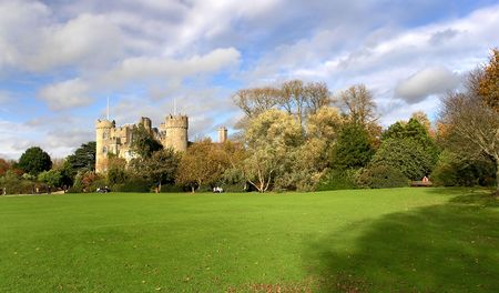 acres: Malahide Castle, set on 250 acres of park land in the seaside town of Malahide Stock Photo