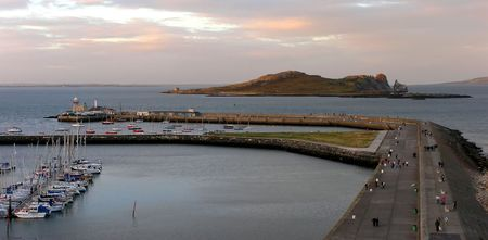 Howth Harbour and Irelands Eye at dusk. photo