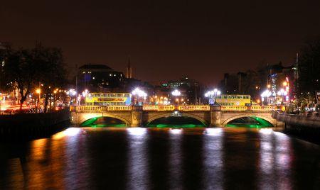 historical reflections: OConnell Bridge spanning the River Liffey, Dublin
