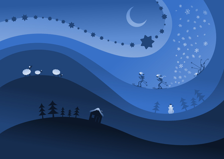 moon stars: Abstract graphics with winter themes