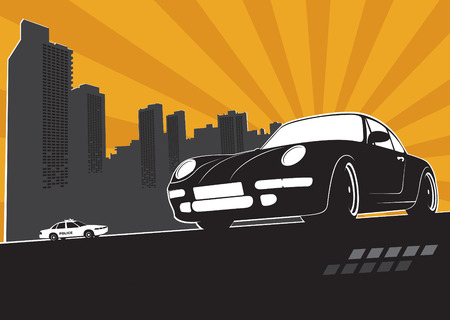 politieauto: Sport auto met stad silhouet en politie auto achter