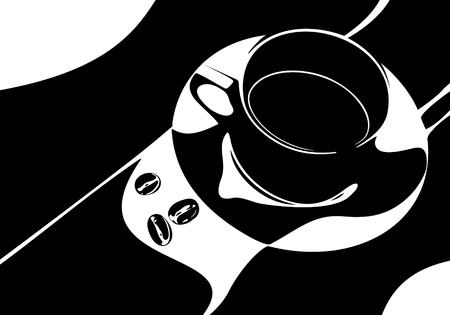 stylistic: Illustratin of cup of coffee with three coffee beans