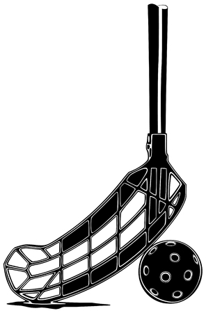 floorball: Vector illustration of floorball stick with the ball