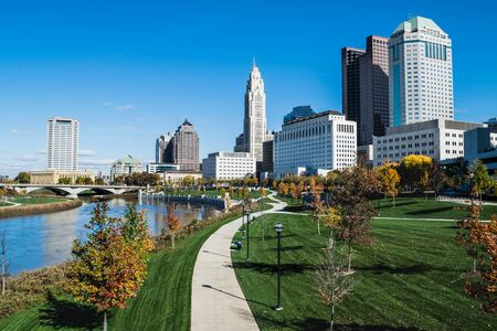 City of Columbus skyline and the Scioto Mile Stock Photo