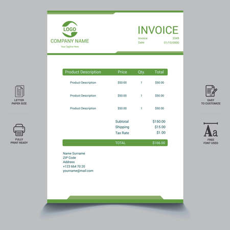Clean modern payment invoice template Vector