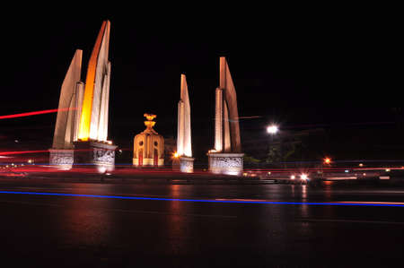 Night view of The Democracy Monument night, Bangkok