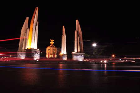 Night view of The Democracy Monument night, Bangkok Stock Photo - 15792156
