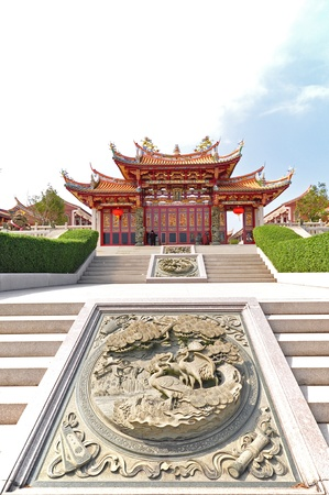 Tien Hou temple  with birds carving decorated on stone stair in Macau  photo