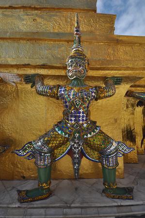 phra si rattana chedi: Giants statue at golden chedi at The Grand Palace in Bangkok, Thailand