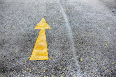 to designate: Single yellow arrow sign marking on road surface in the park for giving directions Stock Photo