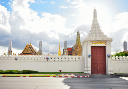 phra si rattana chedi: BANGKOK THAILAND - August 2015: East entrance door of Wat Phra Kaew or The Emerald Buddha in The Grand Palace Complex at afternoon on August 23, 2015 in BANGKOK, THAILAND