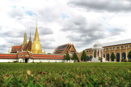 phra si rattana chedi: BANGKOK THAILAND - August 2015: Wat Phra Kaew or The Emerald Buddha in The Grand Palace Complex at afternoon on August 23, 2015 in BANGKOK, THAILAND Editorial
