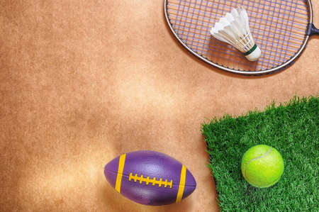 healthiness: Healthiness concept and sport background idea, flat lay in sports equipment