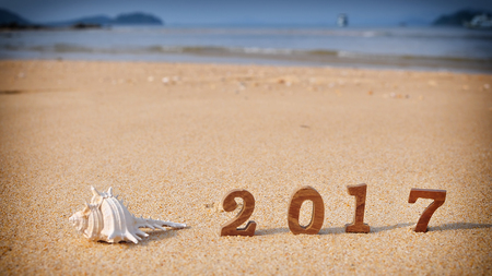 beach happy new year: Wood number 2017 on tropical beach, happy new year concept and coral decorative idea
