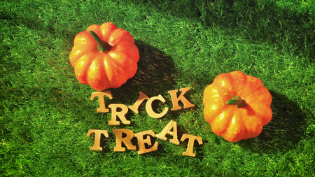 Wooden trick or treat words and pumpkin On grass background, happy halloween concept.