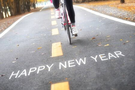 Happy new year concept and sport motivation idea