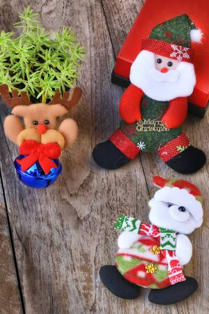 Set of Christmas decorative on wooden background, celebration concept