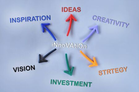 lay forward: Innovation tools on grey background with colorful arrow, business success concept and education idea