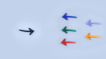 challenges ahead: Business stand out concept: Top view of colorful arrow on grey background Stock Photo