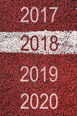 Year 2018 to 2020 on sport race with white marking lines