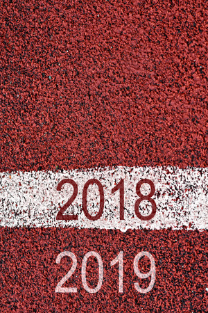 Year 2018 and 2019 on on sports race with white marking line