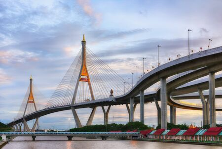 SAMUT PRAKAN, THAILAND - AUGUST 22, 2017: View of Bhumibol 2 Bridge that a part of Industrial Ring Road Bridge. It is the southern bridge and links Phra Pradaeng district and Samrong Tai Sub-district