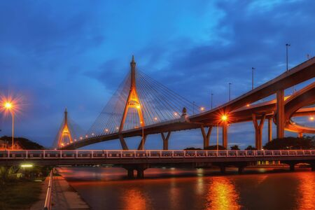 SAMUT PRAKAN, THAILAND - AUGUST 22, 2017: View of Bhumibol 2 Bridge that a part of Industrial Ring Road Bridge. It is the southern bridge and links Phra Pradaeng district and Samrong Tai Sub-district.