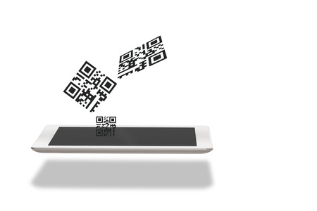 Qr code and computer tablet on white background Stock Photo