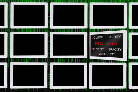 Big data concept word on computer tablet screen with pattern of conputer tablet on green binary code decimal background