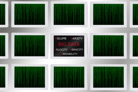 connection connections: Big data concept words and pattern of green binary code decimal on computer tablet screen Stock Photo